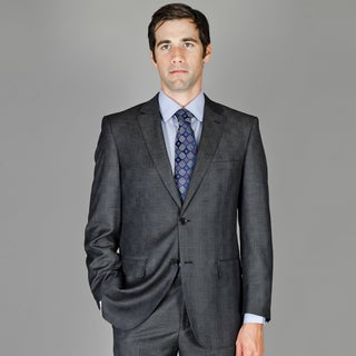 Charcoal Plaid 2-Button Wool and Silk Blend Suit