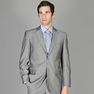 Bertolini Grey Sharkskin 2-button Wool and Silk Blend Suit