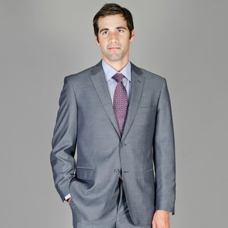 Bertolini Wrinkle-Resistant Gray Stripe Two-button Wool/Silk Blend Suit