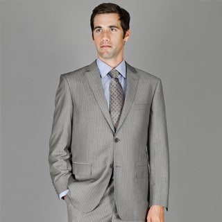 Bertolini Grey Stripe 2-Button Wool and Silk Blend Suit