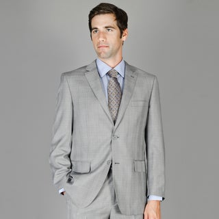 Grey and Black Plaid 2-Button Wool and Silk Blend Suit