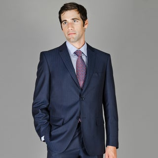 Navy Multi Stripe 2-Button Wool and Silk Blend Suit