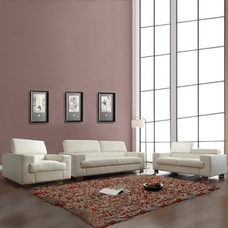 Scarlett 3-piece White Bonded Leather Sofa Set