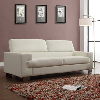 'Scarlett' White Bonded Leather Sofa