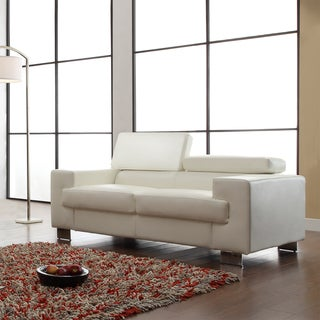Scarlett White Bonded Leather Loveseat