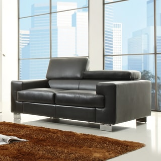 Scarlett Black Bonded Leather Loveseat