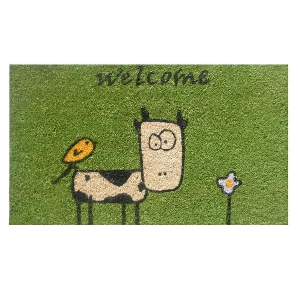 Cute Cow Green Coir Vinyl Doormat 1 5 X 2 5 15297820