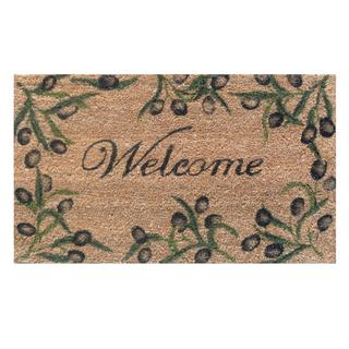 Olive Branch Welcome Natural Coir/ Vinyl Doormat (1'5 x 2'5)