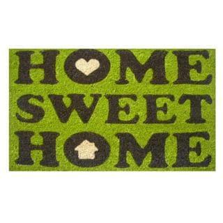 Home Sweet Home Green Coir/ Vinyl Doormat (1'5 x 2'5)