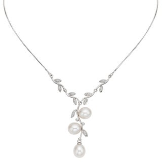 Pearlyta Sterling Silver White Freshwater Pearl and Cubic Zirconia Leaf Necklace (11-12 mm)
