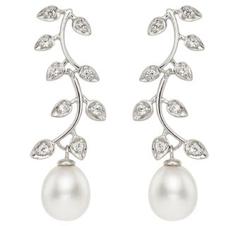 Pearlyta Sterling Silver Freshwater Pearl and CZ Leaf Earrings (11-12 mm)