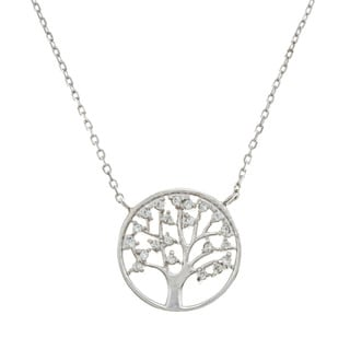 La Preciosa Sterling Silver Cubic Zirconia Tree of Life Necklace