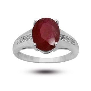 De Buman Sterling Silver Ruby and White Topaz Ring