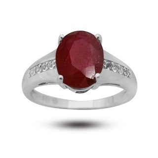 De Buman Sterling Silver Oval-cut Ruby and White Topaz Ring