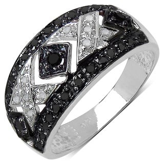 Sterling Silver 1/4ct TDW Black and White Diamond Ring (I-J, I3)