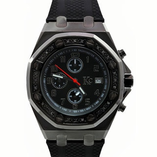 Techno Com by KC Black Diamond-accented Sport Watch
