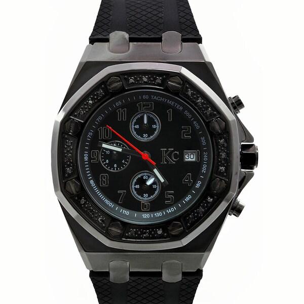 Techno Com by KC Black Diamond-accented Sport Watch