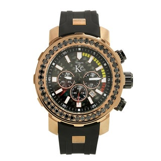 Techno Com Men's KC 4.5ct Black Diamond-accented Rose Goldtone Watch