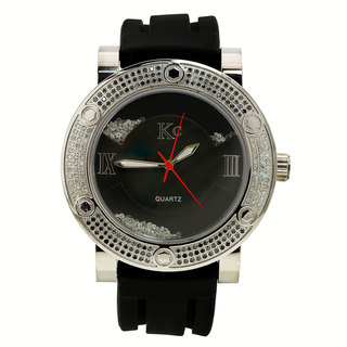 Techno Com by KC Men's Black/ White Diamond-accented Watch