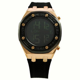 Techno Com by KC Men's Black Diamond-Accented Rose Goldtone Digital Watch