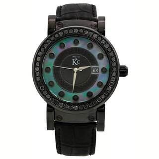 Techno Com KC Men's Black Diamond Mother of Pearl Dial Watch
