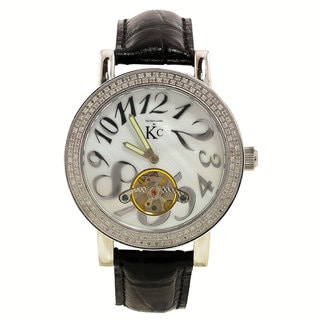 Techno Com by KC Men's Diamond-Accented White Mother of Pearl Dial Watch