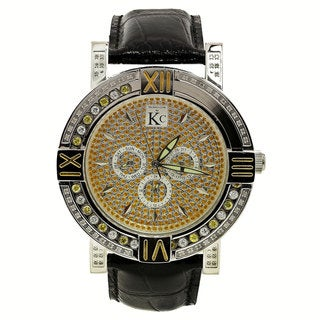 Techno Com by KC Men's White Diamond Black-Leather Watch