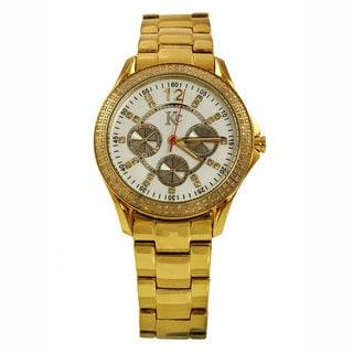 Techno Com By KC Men's Yellow Goldtone Diamond Watch