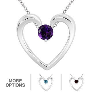 Sterling Silver Blue Topaz, Amethyst or Garnet Open Heart Necklace