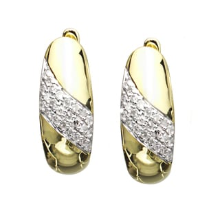 10kt Yellow Gold Two Tone 0.22 Ct TW Diamond Hoop Earrings (H-I, I1-I2)