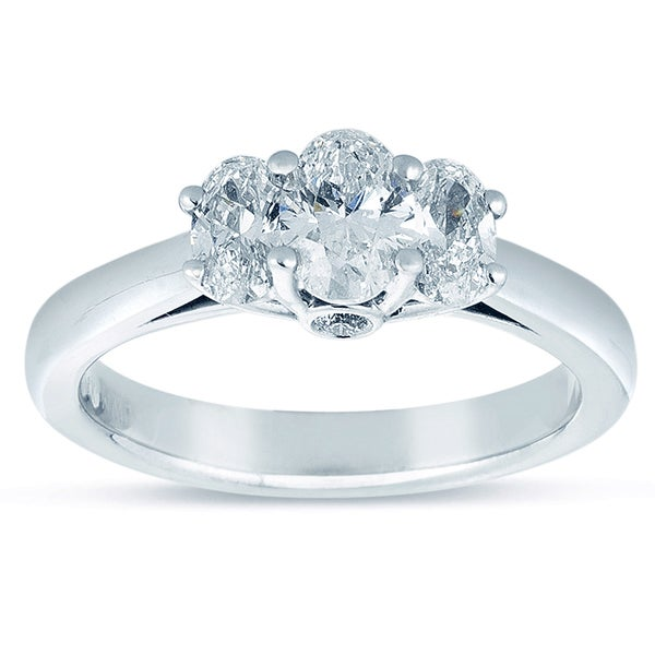 18k White Gold 1ct TDW Oval Diamond 3-stone Engagement Ring (I-J, SI1-SI2)