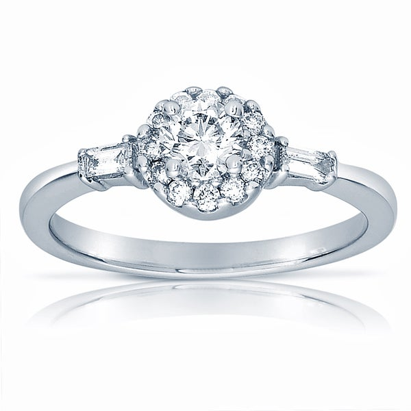 18k White Gold 5/8ct TDW Round/ Baguette Diamond Engagement Ring (G-H, SI1-SI2)
