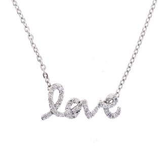 Beverly Hills Charm Sterling Silver 1/4ct TDW Diamond 'Love' Necklace (H-I, I1-I2)