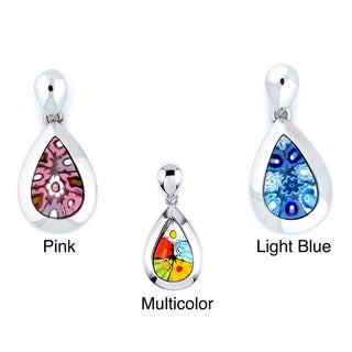 Plutus Sterling Silver Millefiori Drop Necklace
