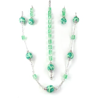 Silverplated Green Fimo Bead Jewelry Set