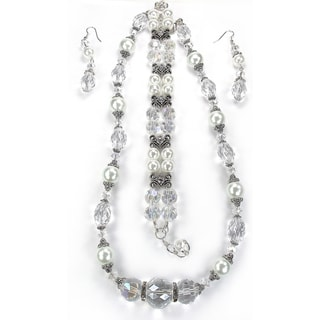 Silverplated White Glass Pearl and Clear Crystal Wedding Jewelry Set