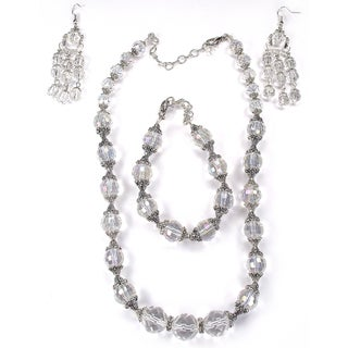 Silverplated Sparkling Clear Crystal Wedding Jewelry Set