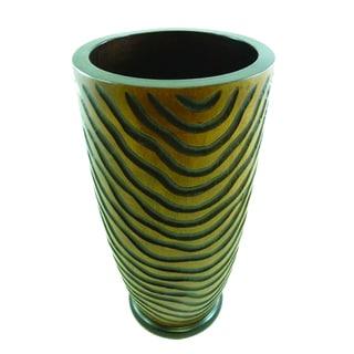14-Inch Mango Wood Tiger Vase (Thailand)