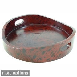 Full Size Mango Wood Round Serving Tray (Thailand)