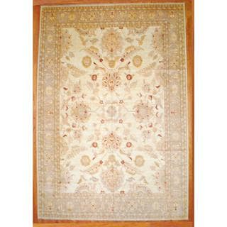 Afghan Hand-knotted Vegetable Dye Ivory/ Beige Wool Rug (12'7 x 18'3)