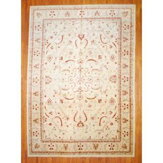 Afghan Hand-knotted Vegetable Dye Ivory/ Beige Wool Rug (11'8 x 16'7)
