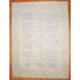 Afghan Hand-knotted Vegetable Dye Light Blue/ Gold Wool Rug (13' x 17'5)