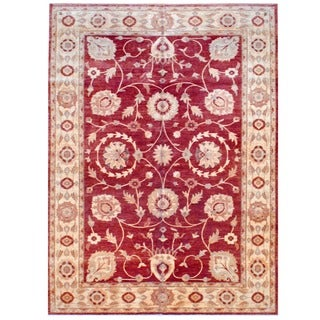 Afghan Hand-knotted Vegetable Dye Red/ Ivory Wool Rug (10'8 x 15')