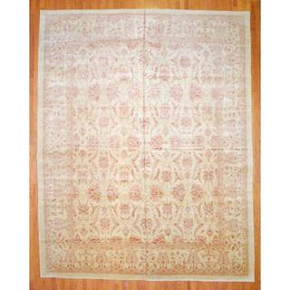 Afghan Hand-knotted Vegetable Dye Ivory/ Red Wool Rug (12' x 16'2)