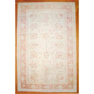 Afghan Hand-knotted Vegetable Dye Ivory/ Orange Wool Rug (12' x 18'5)