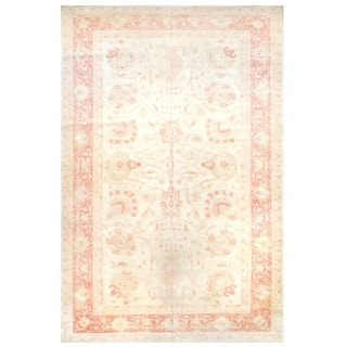 Herat Oriental Afghan Hand-knotted Vegetable Dye Ivory/ Orange Wool Rug (12' x 18'5)