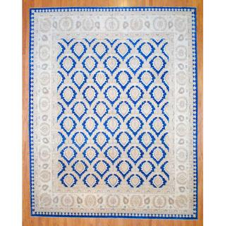 Afghan Hand-knotted Vegetable Dye Blue/ Beige Wool Rug (11'4 x 14'5)