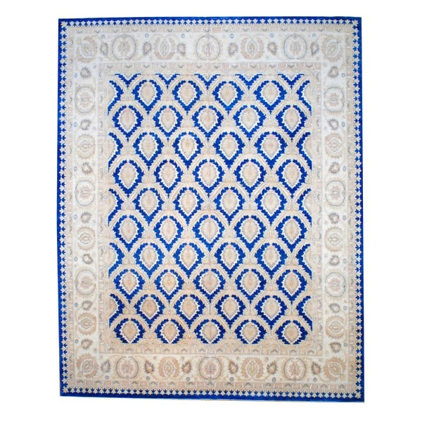 Herat Oriental Afghan Hand-knotted Vegetable Dye Blue/ Beige Wool Area Rug (11'4 x 14'5)