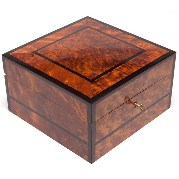 Inlaid Square Thuya Wood Jewelry Box (Morocco)