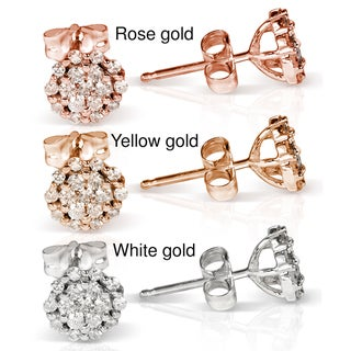 Annello 10k Gold 1/3ct TDW Diamond Cluster Stud Earrings (H-I, I1-I2)